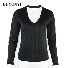 GUYUNYI Women Sexy t-shirt Deep V Neck Slim Elastic tshirt Black Red Striped T-Shirt High Street Long Sleeve Basic Knitted T177(China)
