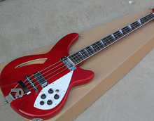 Factory Custom Red 4 Strings Electric Bass Guitar with White Pickguard,Rosewood Fingerboard,Chrome Hardware,Offer Customized