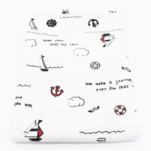 Printed Cotton Linen Fabric Ocean Style Patchwork Anchor Series Sewing Quilting Cloth Bag Curtain Furniture Sofa Cover Material(China)