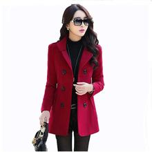 Autumn Winter new fashion women wool coat double breasted coat elegant bodycon cocoon wool long coat Solid color tops G66