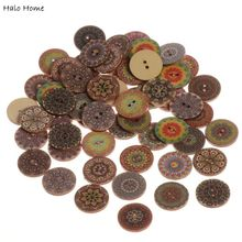 Best Quality Scrapbooking Sewing Wood Buttons Decorative 50 Pcs Promotions Pattern 2 Holes Card Making DIY Home Decor Tools 25mm(China)