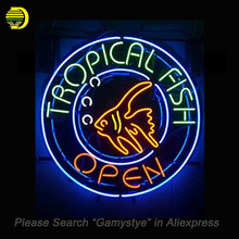 Tropical Fish Neon Signs Open Handcrafted Neon Bulbs Glass Tube Decorate Shop beer Bar Pub signs outdoor exhibition Lighted sign(China)