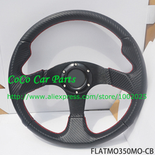 350mm Flat Style Carbon Look Racing Steering Wheel Universal Sport Car Steering Wheel 14'' For Racing Car(China)