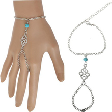 2017 New Women Blue Stone Beads Celebrity Bracelet Bangle Slave Chain Finger Hand Harness Jewelry