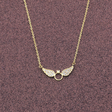 Gorgeous Tale Cute Butterfly Pendant Necklace Women Jewelry Gold Color Chain Fashion Crystal Angle Wing Necklace 2017