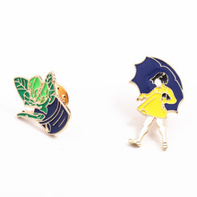 Micro chapter fashion jewelry charm women Clothing accessories of jacket Animated cartoon girl plant pin brooch in the rain