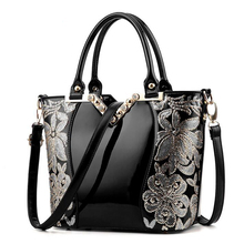 Luxury Sequin Embroidery Women Bag Patent Leather Handbags Famous Brand Designer Tote Bag Vintage Diamond Shoulder Messenger Bag(China)