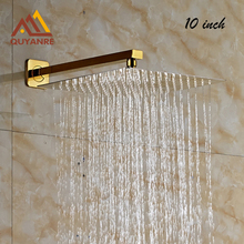 Free Shipping Golden 10inch Ultrathin Rainfall Shower Head with Wall Mount Brass Shower Arm