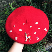 Children 100% Wool Berets kids baby girls beanies rainbow winter hat beret cap Deer Red Beanie Painter Boina Christmas gift(China)