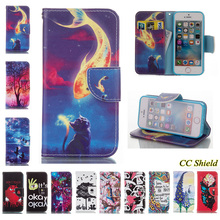 For Apple iPhone 5 5S SE Case Natural Style Luxury Painting PU Leather Case Card Slot Stand Wallet Magnetic Flip Phone Cover