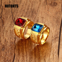 RC-183 Vintage Dragon Design Titanium Steel Couple Ring Cool Men Women Gold Color Blue Red Shiny Rhinestone Wedding Ring(China)