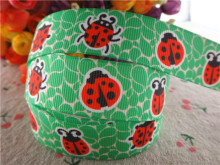 "17030258,New arrival 7/8"" (22mm) 5 yards/lot animals ladybug printed grosgrain ribbons cartoon ribbon DIY handmade materials(China)"