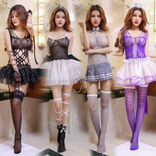 Buy Sexy Princess lace mini dress Lady Lover bondage bow fishnet stocking halter costumes porn erotic Tie COSPLAY lingeries stripper