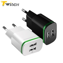 Buy EU Plug 2 Ports LED Light USB Charger 5V 2A Wall Adapter Mobile Phone Data Charging Micro USB Cable iPhone Samsung Type c for $2.99 in AliExpress store