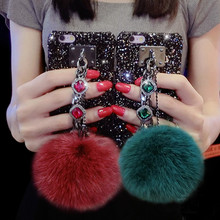 Glitter Hard Case for Iphone X 5 5S SE 6 6s 7 8 Plus Lady Luxury Fuzzy Ball Fur Retro Jewel Gem Stone Hand Holder pc Case Cover(China)
