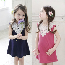Children's Garment Place Of Origin Summer New Pattern Children's Garment Seoul Sweet Long A Word Even Dress Kids Clothing