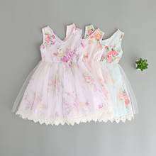 Girl Summer Lace Tulle Dresses Cute Baby Party Dress 2017 New Girl Print Sleeveless Dress Childrens Belle Clothes Kids Clothing
