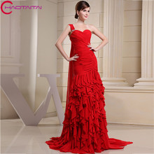 Red Tiered Ruffles Beaded Crystals Formal Evening Dresses 2017 Party Elegant Chiffon Gowns Free Shipping Custom Made