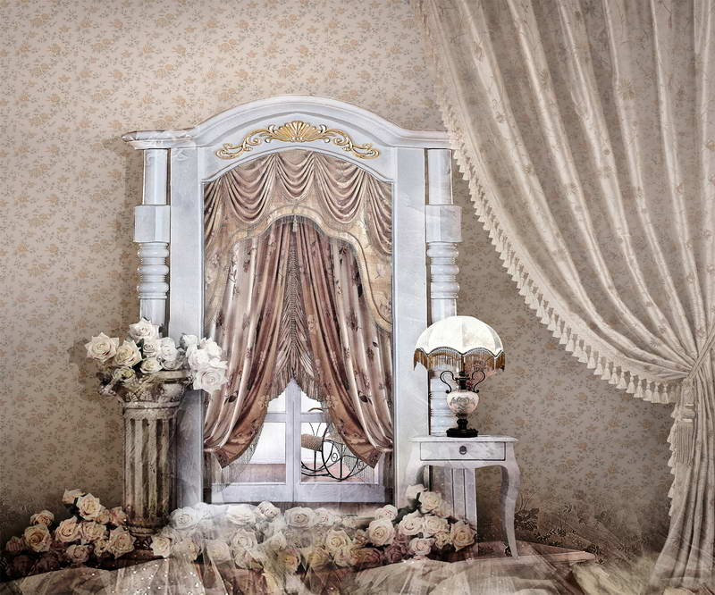 Ivory Curtain Indoor Scenic Photographic Background Backdrops Custom Photography Backdrop Wedding Photo Studio Props fotografia<br>
