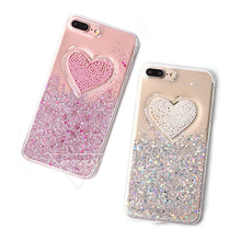BROTOLA Shining Glitter Powder Case For iphone 7 6 6s Plus Pearl Loving Heart Soft Clear Phone Case Coque Bags With Dust Plug