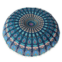 Large Mandala Floor Pillow Case Round Bohemian Meditation Pillowcase Decorative Pillows For Sofa Seat Cushion Cover Home Decor(China)