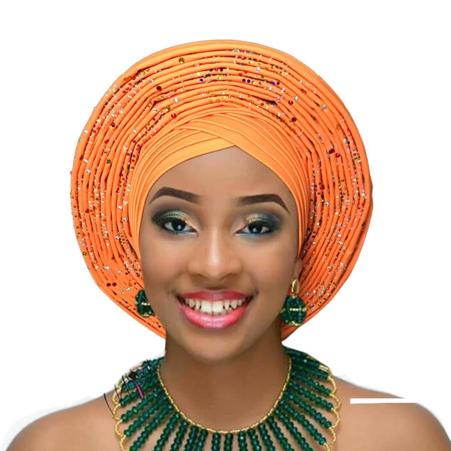 2018 Nigerian gele headtie already made auto hele turban cap african aso ebi gele aso oke headtie big brim (2)