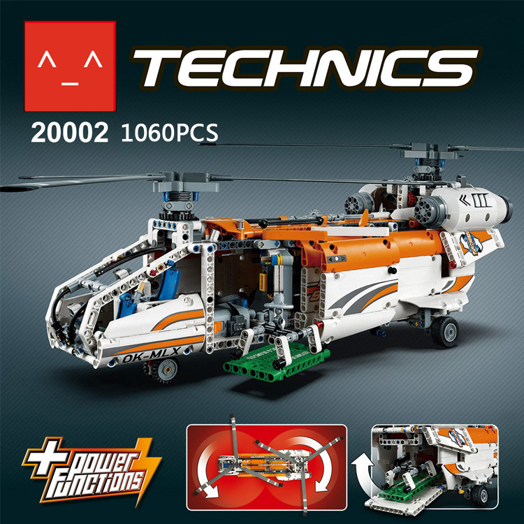 Latest lepins technic 2 forms Electric Heavy lift helicopter assemblage model compatible lego52052 building block toys for kids<br><br>Aliexpress