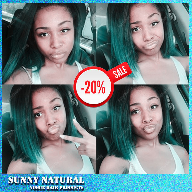 Hot Sale Fashion None Lace Ombre Black Green Short Bob Haircut Wigs None Lace Heat Resistant Fiber Hair Wigs For Black Women<br><br>Aliexpress