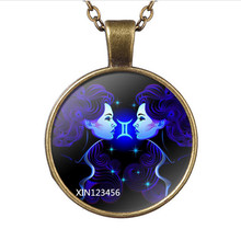 Twelve Constellations Gemini Glass Pendant Necklace Fashion Women and Men Necklace