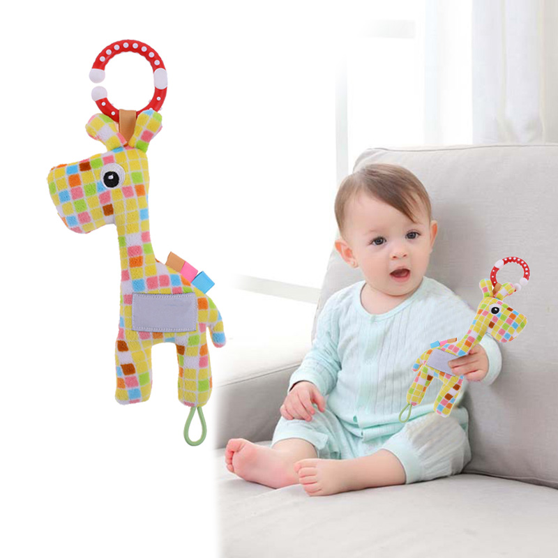 Infant Baby Soft Plush Toy Lovely Teether Rattle Teething Toys Gift Giraffe