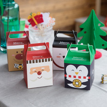 Merry Christmas Portable Cake Box Series Polar Bear Penguin Moose Gift Paper Box 30Pcs/Lot Free Shipping(China)