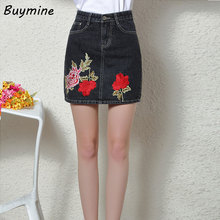 Summer Denim Jeans Skirts 2017 Fashion A line Mini Denim Skirt Women Black Pocket Skirts Big size Flower Embroidery Bottoms(China)