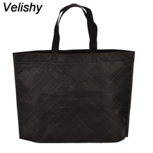Velishy 1Pcs Candy Color Grocery Eco-friendly Tote Reusable Portable Women Shopping Bag Waterproof Strong Folding Handbag