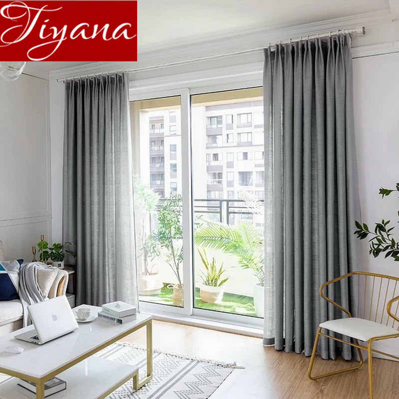 Grey Curtain Linen for Living Room Thickening Sheer Fabric Kitchen Drape Tulle Curtain White Treatment M&047#40