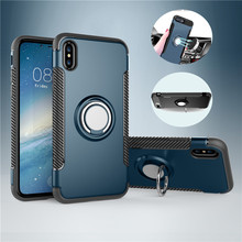New Arrival Hybrid Finger Ring Armor Case for iPhone X 4.7 inch case Kickstand Magnetic Car Holder Shockproof Fundas ( SS0824 )(China)