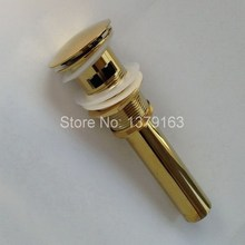 Luxury Gold Color Brass Large Round Cap Pop UP Bathroom Sink Drain With Overflow asd039