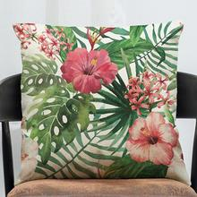 Free Shipping Wholesale Home Decor Pink Flamingo Pillow Cover Printd Flamingo Cushion Cover Creative Tropical Plants For Sofa