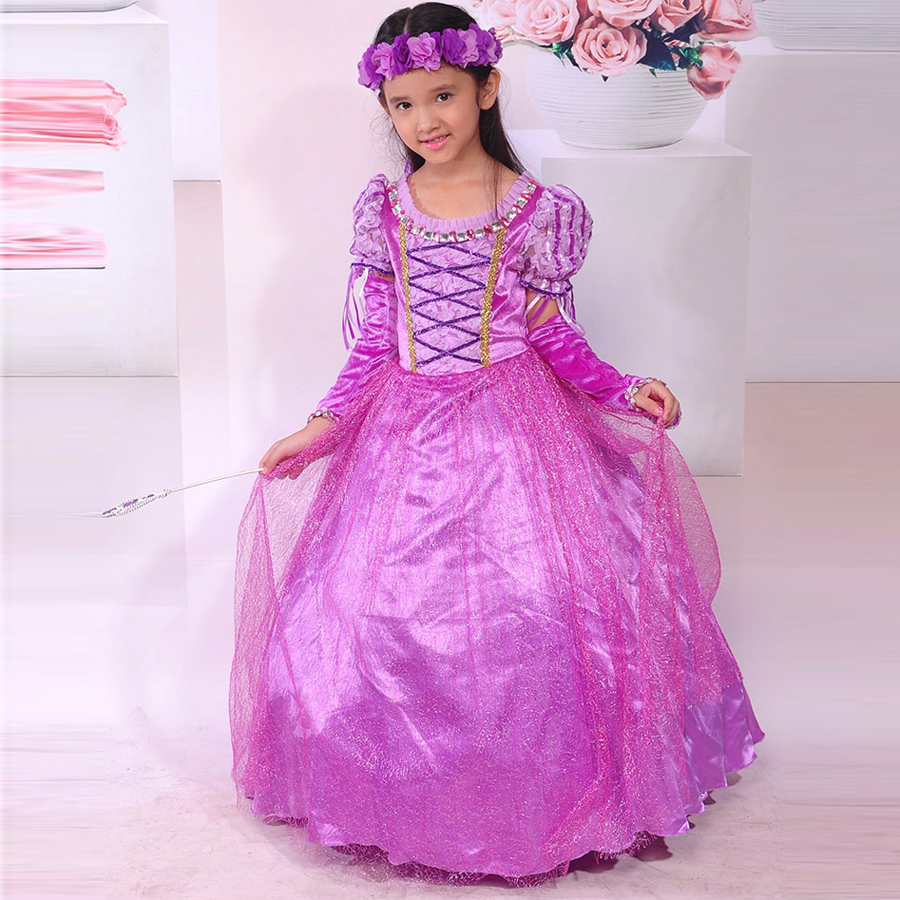 New Brand kids girls Dress Rapunzel Cosplay Costume Princess Sofia Dress party tutu Dresses Fantasia Vestidos<br>