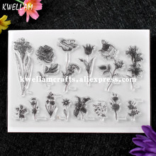 Flowers Iris Peony Poppy Tulip Rose Lily Violet Scrapbook DIY photo cards rubber stamp clear stamp transparent stamp KW7072364