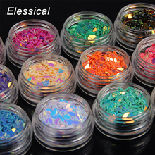 ELESSICAL 12 bottle/set Colorful Fantastic Leaves Shape 3D Nail Glitter Nail Powder Glitters Women Makeup Nail DIY Tools WY1078(China)