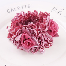 New Arrival Women Luxury Flower Lace Ribbon Elegant Elastic Hair Bands Good Quality Ponytail Holder Hair Ropes Hair Accessories(China)