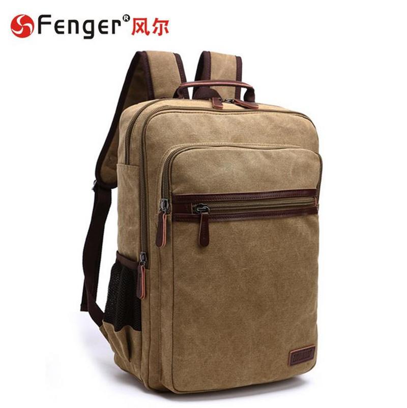 Fashion school bags mens double shoulder canvas school bag Casual student computer bag Dark blue, khaki<br><br>Aliexpress