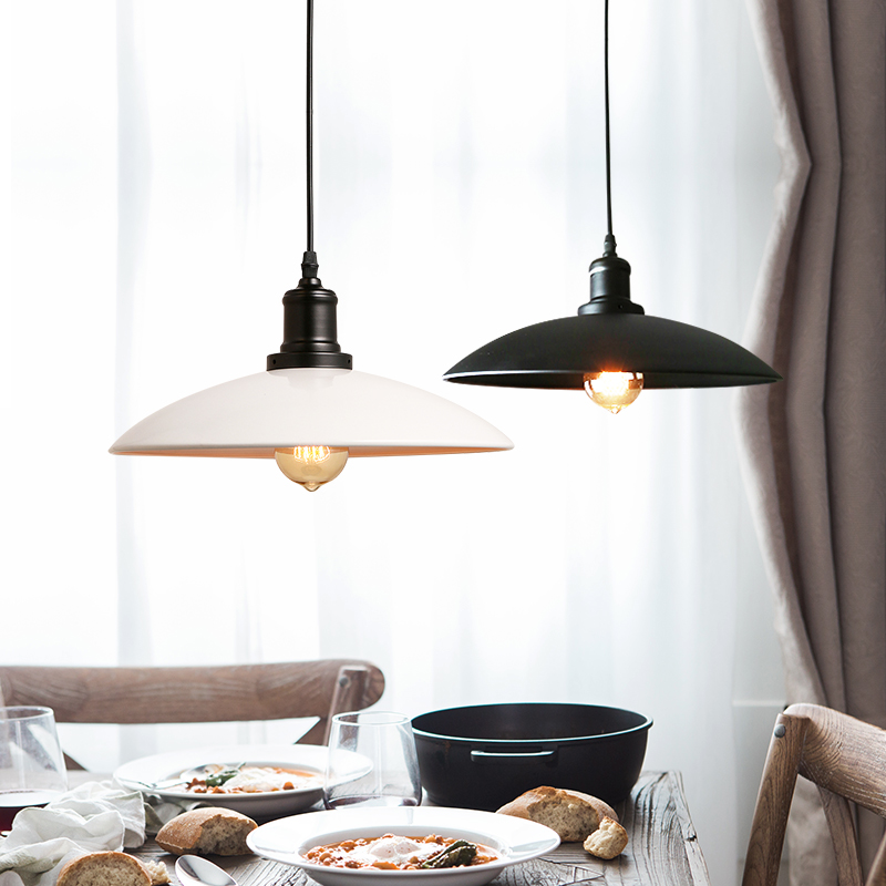 Vintage loft Wrought Iron Pendant Lights Black White Lampshade Industrial Lighting Bar Restaurant Kitchen Hanging Lamp Fixtures <br>