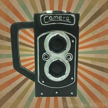 Free Shipping 1Piece Vintage Twin Lens Reflex Mug Retro Camera Coffee Tea Cup Photographer Friends Gift