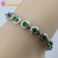 925 Sterling Silver Smooth Green Created Emerald Bracelet Health Fashion  Jewelry For Women Free Jewelry Box SL136
