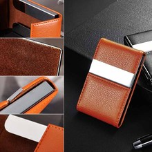 Mayitr Stainless Steel PU Leather Cigarette Box Case Name Credit Card Cigarette Case DIY Cigarette Storage Tools