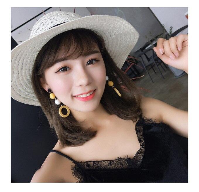 Fashion Korean Net Red Earrings Girls Retro Temperament Linen Hemp Rope Hit Color Ball Earrings Round Circle Wood Earring 7