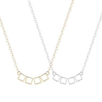 QIMING  Square Cubic Geometric Collar Pendant Necklace Para Statemnt Elegant Necklace Jewelry for Women Christmas Gift Fashion