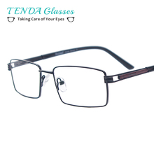 Men Classic Eyeglasses Metal Rectangle Spectacles with Spring Hinge For Myopia Reading Prescription Multifocal Lenses