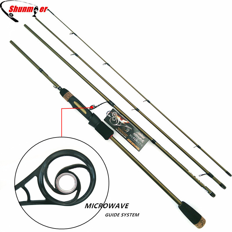 SHUNMIER 2.1m 2.4m Spinning Fishing Rods 4 Section ML M 99% Carbon Fishing Pole Rod With MICROWAVE Guide Pesca Tackle Peche Olta<br>